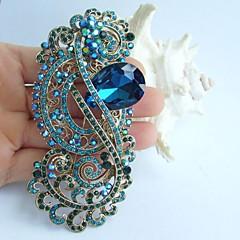 4.13 tommer gold-tone turkis rhinestone krystal blomst broche vedhæng bryllup dekorationer
