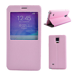Voor Samsung Galaxy Note met standaard / met venster hoesje Volledige behuizing hoesje Effen kleur PU-leer Samsung Note 5 / Note 4