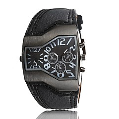 2015 Summer New Men's Casual Leather Personality Big Dial Dual Time Zone Quartz Watch