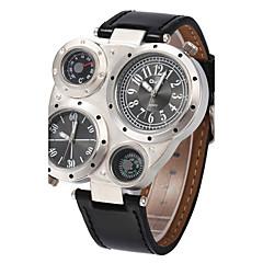 Męskie Sportowy Wojskowy Modny Zegarek na nadgarstek Kwarcowy Compass Dwie strefy czasowe Skóra naturalna Pasmo Postarzane Na co dzień