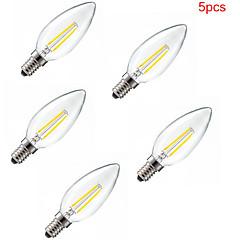 5 kpl e14 2w 180lm lämmin / viileä valkoinen 360 asteen edison hehkulamppu valo led kynttilän lamppu (220-240v)