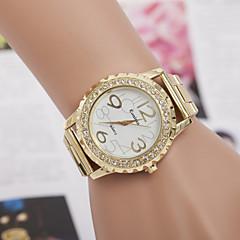 Miłośnicy mody Genewa kobiety ubierają złote zegarki kwarcowe pełnej stali analogowe cyfrowe Rhinestone panie zegarki na rękę