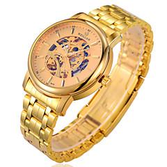Hombre Reloj Cuarzo Reloj Esqueleto Resistente al Agua Aleación Banda Reloj de Pulsera