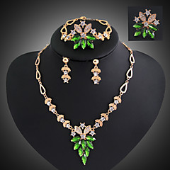 Lucky Doll Women's Vintage Crystal 18K Gold Plated Zirconia Flower Necklace & Earrings & Bracelet & Ring Jewelry Sets