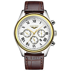 Herren Armbanduhr Quartz Kalender / Wasserdicht Leder Band Schwarz / Braun Marke