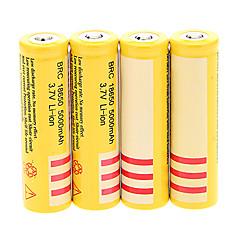 BRC 18650 5000mAh batterij (4 stuks) + 4 stuks / stuk hard plastic accu doos voor 18650 batterij