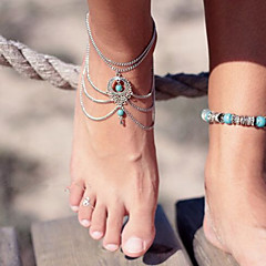 Kadın's Ayak bileziği/Bilezikler Turkuaz Eşsiz Tasarım Moda Eski Tip Sexy Bikini Çoklu Katman kostüm takısı Damla Mücevher Mücevher
