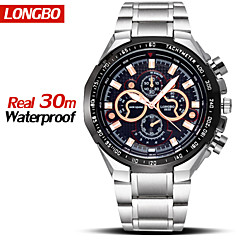 marque longbo® montres étanches mode plein acier quartz casual Montres-bracelets masculins craquer les hommes de luxe