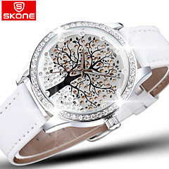 Skone® Brand Crystal Diamond Rhinestone Big Tree Dial Fashion Watches Women Quartz Watch Leather Wristwatch