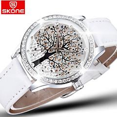 skone® brändi kristalli timantti strassi iso puu dial muoti kellot naisten kvartsikello nahka rannekello
