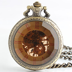 Vintage Style Oval Shape Alloy Mechanical Pocket Watch Key Chain(Bronze)(1Pc) Cool Watch Unique Watch