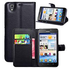 Na Etui Huawei Portfel / Etui na karty / Z podpórką / Flip Kılıf Futerał Kılıf Jeden kolor Twarde Skóra PU na HuaweiHuawei Y635 / Huawei