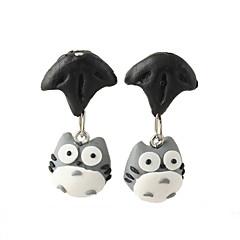 HUALUO®Creative Handmade Clay Animal Chinchilla Split Personality Earrings