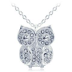 European Style Fashion Zircon Owl Pendant Silvering Necklace