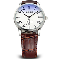 Weiqin ®5ATM Waterproof Stainless Steel Case Genuine Leather Strap Watches Men Luxury Brand Quartz Movt Shock