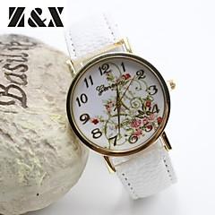 Dames Modieus horloge Kwarts Leer Band Bloem Zwart Wit Blauw Rood Bruin Groen roze