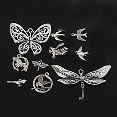 Beadia Metal Butterfly & Dragonfly & Bird Charm Pendants Antique Silver DIY Jewelry Accessories