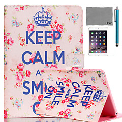 LEXY® Keep Calm Pattern PU Leather Flip Stand Case with Screen Protector and Stylus for iPad Air 2/iPad 6