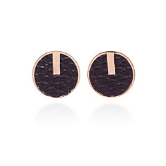 Europestyle Retro Gilded Edge Roundness Leather Alloy Stud Earrings