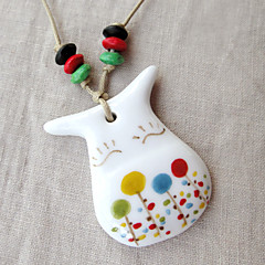 Cute Multicolor Cattle Ceramic / Wood Necklace random Pattern Pendant Necklaces Party / Daily / Casual 1pc