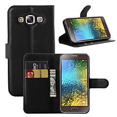 For Samsung Galaxy etui Kortholder Pung Med stativ Flip Etui Heldækkende Etui Helfarve Kunstlæder for Samsung On7 Pro On5 Pro E7 E5 C7 C5