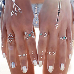 HUALUO®Bohemian Imitation Silver Geometric Retro Fashion Arrowheads Ring Set