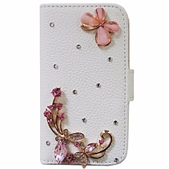 Handmade Diamond Love of Butterfly PU Leather Full Body Case with Kickstand for Samsung Galaxy Note 2/3/4/5