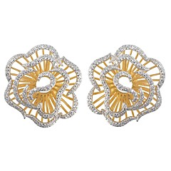 Fashion 925 Sterling Silver Cubic Zirconia Earrings Casual 1 Pair