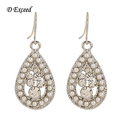 D Exceed Women White Waterdrop Beaded Luxury Earrings Bling Bling Party Fashion Jewelry Cheap Hot Selling