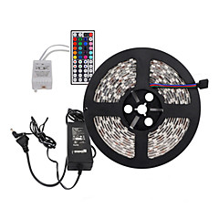 5メートル300x5050 SMD RGB LEDストリップライトと44keyリモコン、私達にEU英国auの電源を6A(ac110-240v)