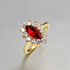2015 Fashion Noble 18K Red CZ Stone Gold Plated Exaggerate Band Rings For Woman