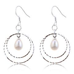 Kolczyki wiszące Kolczyki koła Modny Perłowy Posrebrzany Circle Shape White Biżuteria Na Impreza Codzienny Casual 2pcs