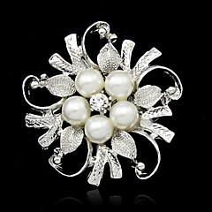 hermosa aleación y broches de perlas de imitación