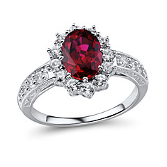 Women's Classic Sterling Silver set with Created White Sapphire and Created Ruby Ring