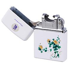 blauw&wit porselein boog puls opladen usb lichtere ultradunne winddicht elektronische sigaretten aansteker chrysant