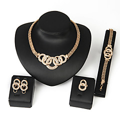 Jewelry Set,Women's Alloy Golden Crystal Earrings, Necklaces, Bracelets & Bangles, Rings,5Pcs/set