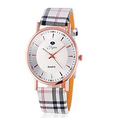 Damen Armbanduhr Quartz Chronograph PU Band Mehrfarbig Weiß Schwarz