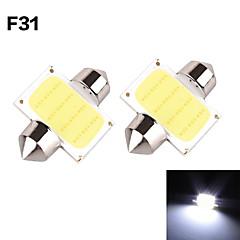 Yobo 3W 350-380lm guirlande 31mm 1d cob LED lys til bil styretøj pære / læselampe - (2 stk / DC 12V)