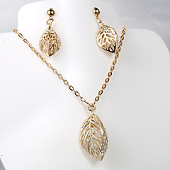 European and American fashion new hollow leaves 5 diamond necklace Earring Sets