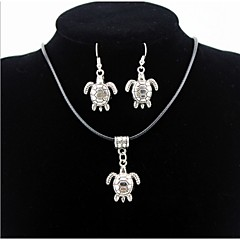 Turtle Animal Pendant Silver Necklace & Earrings Jewelry Set