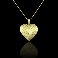 18K Real Gold Plated Heart Photo Box Pendant 2.9*3.6CM
