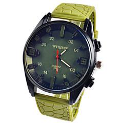 Hommes Bracelet Montre Quartz Chronographe Cuir Bande Noir / Vert Marque-