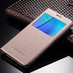 Na Samsung Galaxy Etui Z okienkiem / Auto uśpienie/włączenie / Flip Kılıf Futerał Kılıf Jeden kolor Skóra PU Samsung On 7 / On 5