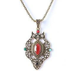 Diamond Pendant Necklace Retro Ruby Jewelry