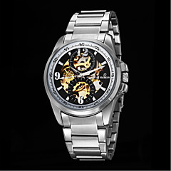 Men's Fashion Hollow Full Automatic Round Dial Stainless Steel Band Machine Analog Wrist Watch(Assorted Color)