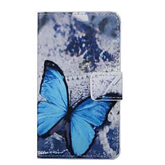 Modelo azul de la mariposa de la PU cuero de la cubierta de cuerpo completo con soporte para wiko lenny 2