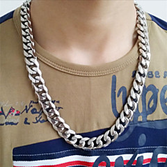 L: 60CM W:1.2CM Fashionable High Quality Stainless Steel Silver Chain Link Men Gift Necklace(1PC)