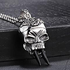 Fashion Men's Skeleton Black Tusk 316L Stainless Steel Pendant Necklace