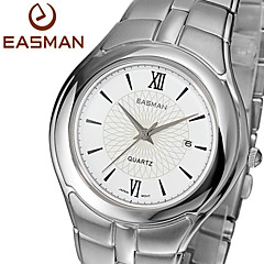 EASMAN Men's Classical White Sapphire Dial Round Shape Stainless Steel Calendar Quartz Wristwatch