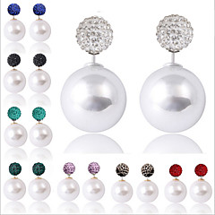 European Style Fashion Shambhala Rhinestone Ball Double Sided Pearl Earrings